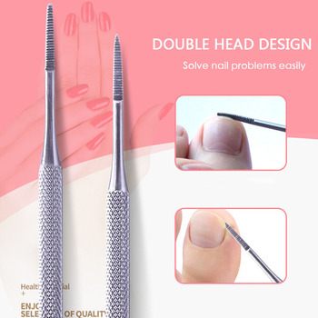 1PC Double Head Nail Trenching Nail File Shaping Toenails Edge Nail Spoon Stainless Steel Toe Nail C