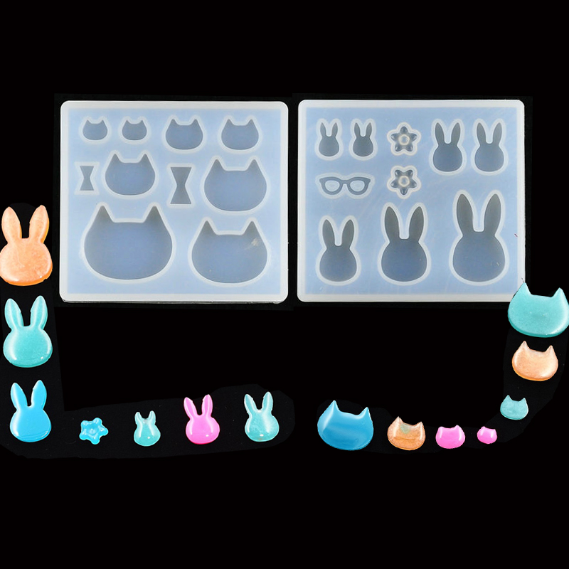 1PC Cat Rabbit DIY Necklace Jewelry Mold Pendants Crystal Scale Jewelry Resin Molds For Jewelry Making Tool