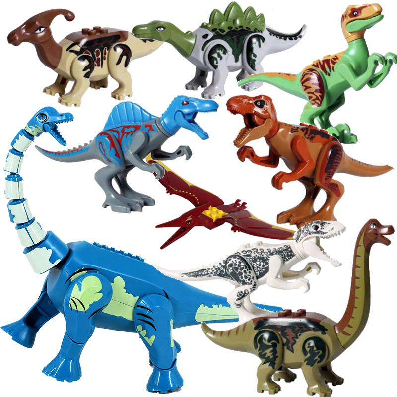 8pcs/lot Jurassic Dino world Tyrannosaurus Rex Wyvern Velociraptor Stegosaurus Building Kits Bolcks Dinosaur figures Raptor Toy
