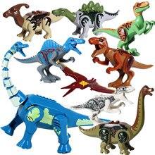 Dinosaures du Jurassique en kit de construction pour enfants, lot de 8 pièces de l'univers Dino World avec tyrannosaure rex, vélociraptor, stégosaure et vouivre en jouet,