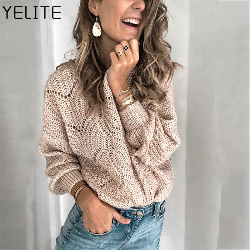 YELITE Winter Women Knitting Pullover Keep Warm Sweater Loose Long Sleeve Sweaters Pullover Oversized Sweaters Ladies Outerwear