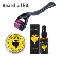 Kit de croissance de la Barbe, Kit pour la croissance de la Barbe, huile essentielle, soin du visage, avec rouleau de Barbe