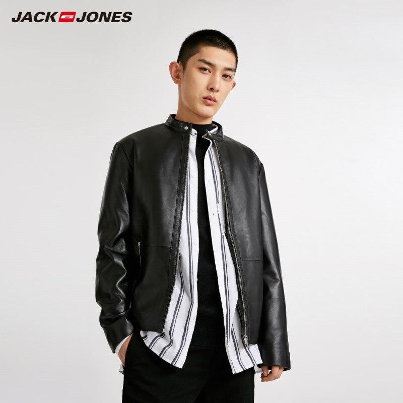 JackJones 冬男性のカジュアル羊革ジャケット 218428504  グループ上の メンズ服 からの 本革コート の中 1