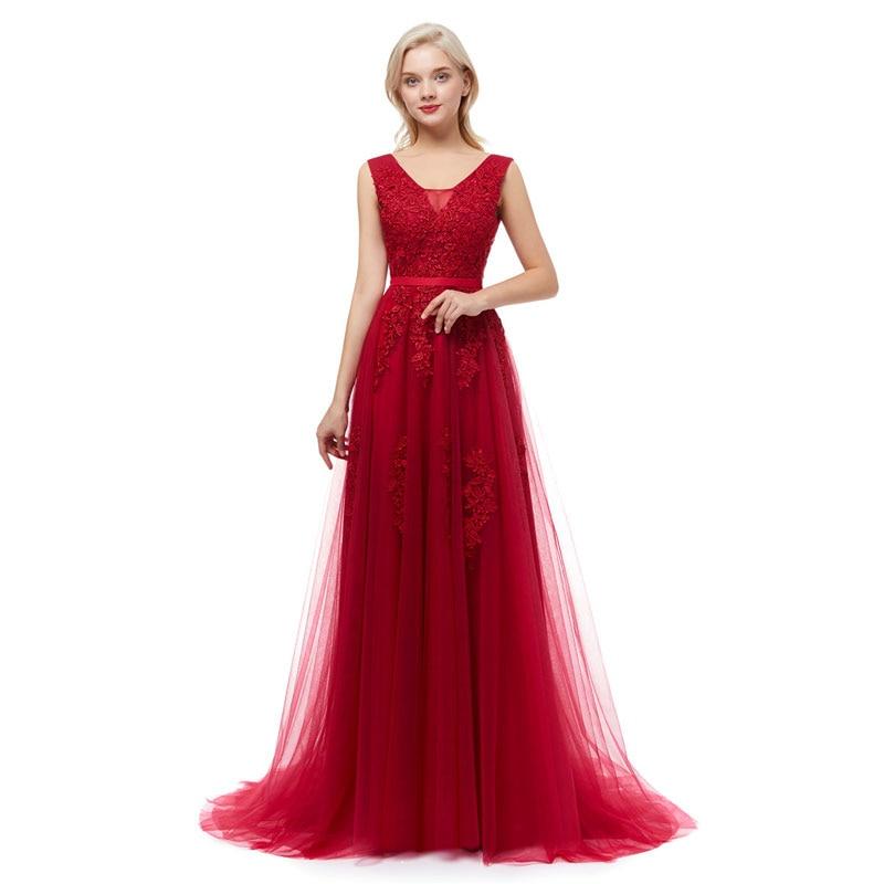 Beauté Emily Robe De soirée dentelle Sexy dos nu longues robes De soirée 2018 mariée Banquet élégant étage-longueur fête Robe De bal