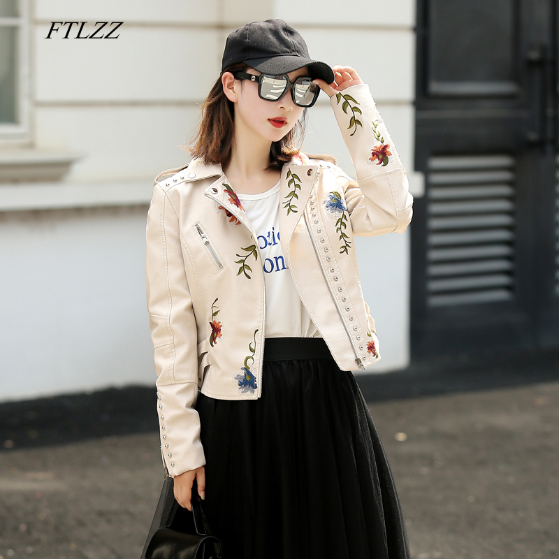 FTLZZ Women Faux Soft Leather Jacket Embroidery Pu Motorcycle Black Punk Jacket Coat Rivet Zipper Female Faux Jacket Outerwear
