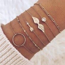 LETAPI 6Pcs/ Set Vintage Gold Crystal Circle Arrow Bracelet for Women Bohemian Adjustable Charm Jewelry Gift