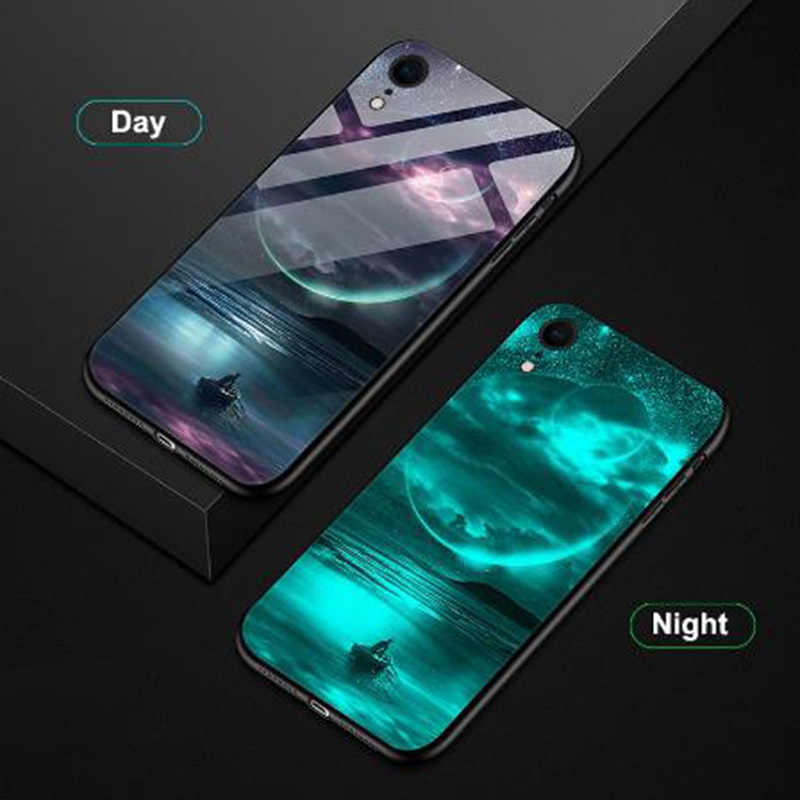 Luminous Phone Cases For Huawei Honor 8 8A 8x Pro 9 9i 9x 10 lite Space Night Shine Glass Case For Honor V8 V9 V10 Cover Shell