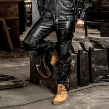 Brand Genuine Leather Long Pants Men's Profession Motorcycle Biker Trousers Slim Fit Cowskin Real Leather Protective Gear Pants