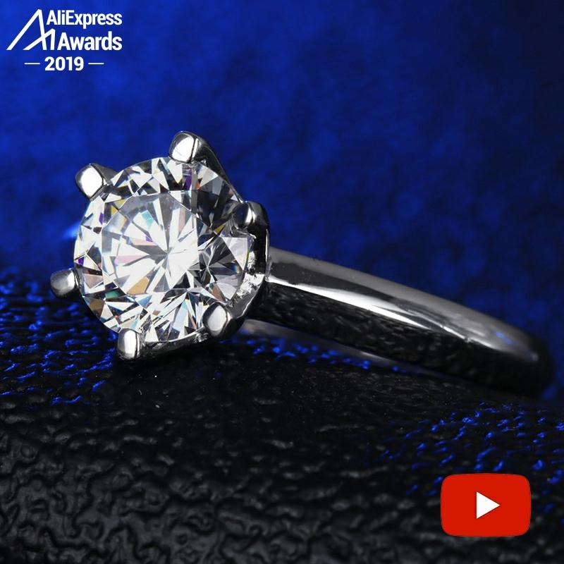 3 Carat Round Cut  1*9.4mm  S925 Sterling Silver Ring SONA Diamond Solitaire Fine Ring Unique Style Love Wedding Engagement