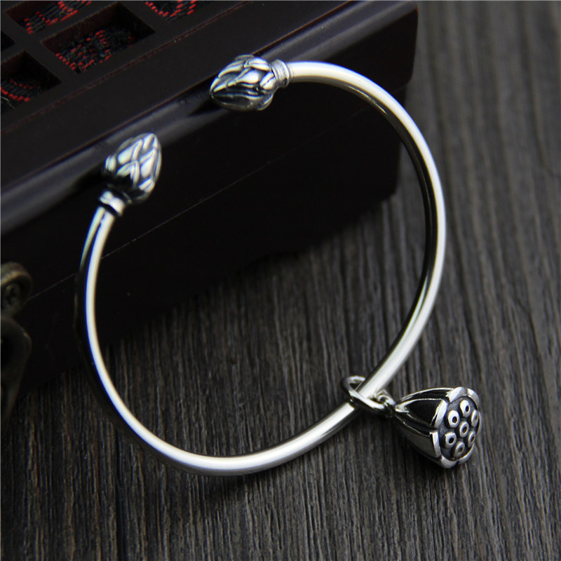 Silver 925 Jewelry fashionable delicate pendant BRACELET Handcrafted in Thailand with Lotus Peng pendant opening Bracelet size 3