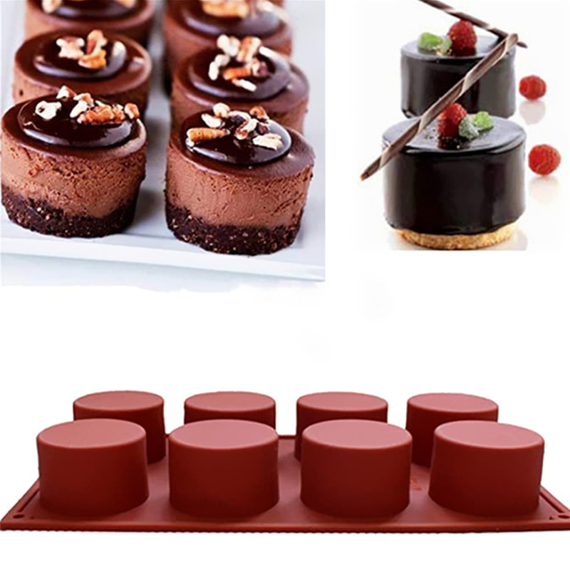 8 Holes Silicone Cake Mold Baking Pastry Chocolate Pudding Mould DIY Muffin Mousse Ice-Creams Biscuit Cake Decorating Mold Tools