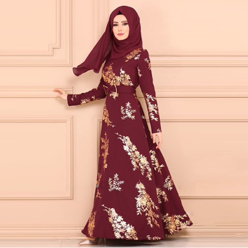 Saudi Arabian ethnic dress gown Muslim Turkey Dubai Oman printed sequin long sleeve dress Abaya Ramadan prayer mosque dress image