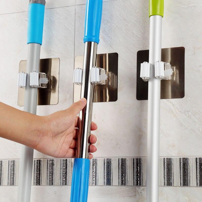 Wall Mounted Mop Organizer Holder Brush Broom Hanger Home Storage Rack Bathroom Suction Hanging Pipe Hooks Household Tools