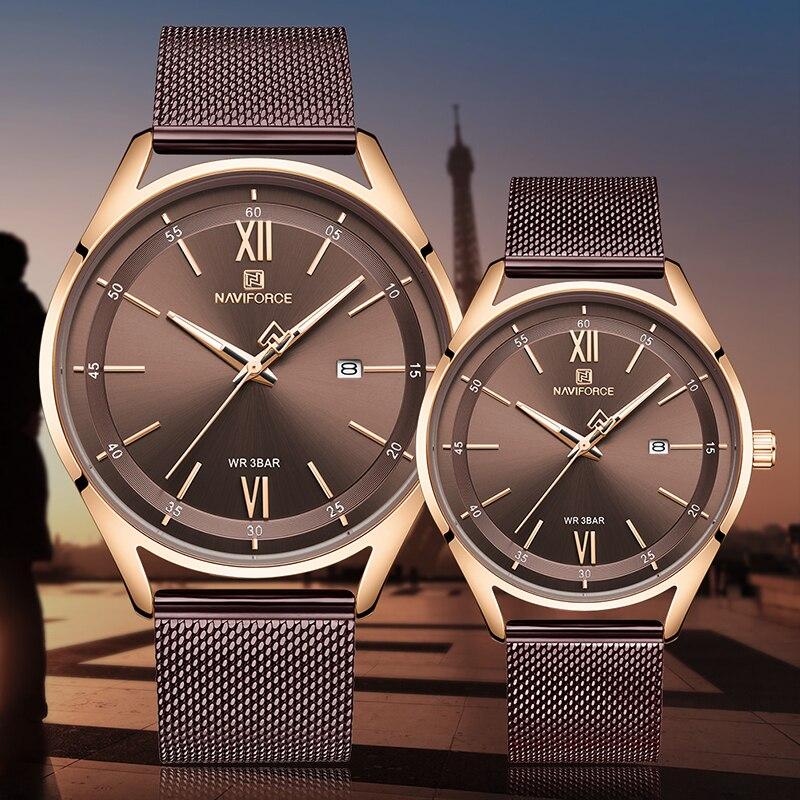Luxury Brand NAVIFORCE Lover's Watches Men Women Simple Casual Quartz Wristwatches Waterproof Date Clock Couple Watch For Gift