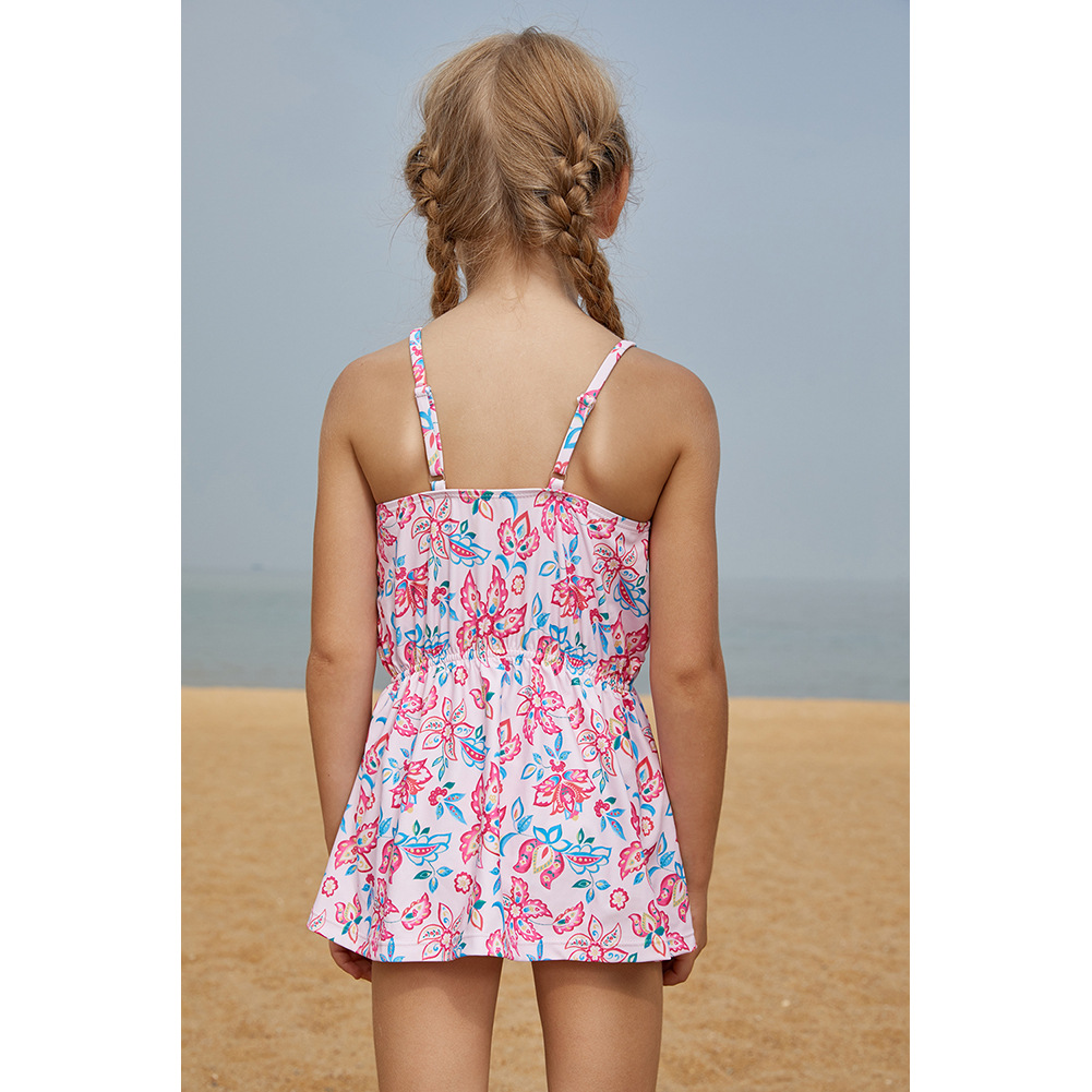 Shi Ying Europe And America Children Skirt-Two-Piece Swimwear Princess Students Girls Printed Camisole Two-piece Swimsuits 41003