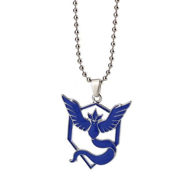패션 주얼리 포케몬 이동 태그 목걸이 애니메이션 금속 팀 용맹 한 신비한 본능 로고 펜던트 비드 체인 팬