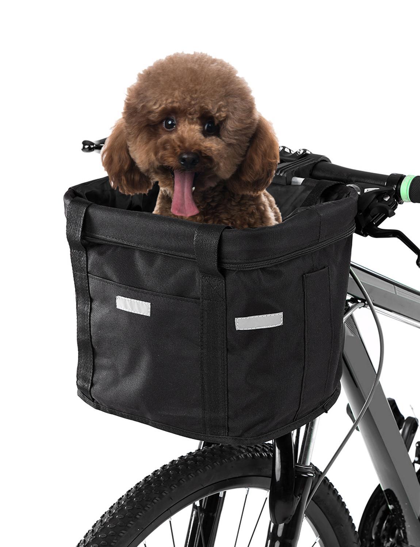 Bicycle Front Rear Basket Removable Bike Handlebar Pet Carrier Bag Storage