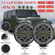 2 sztuk okrągłe światła robocze LED Off Road Spotlight 102W 12V/24V 13600lm światła samochodowe LED jasne wiązki dla SUV ATV Truck lampa do motocykla