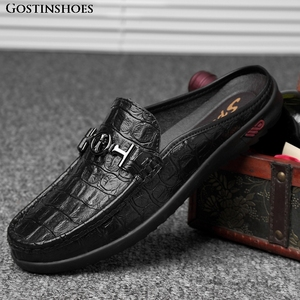 Image 2 - Moccasins Men Shoes Cowhide Social Hollow out Large Size Small Half Loafers