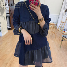 Cheerart Autumn Vintage Dress Navy Blue Ruffle Mini Korean Blazer Patchwork Short Designer 2019 Clothing