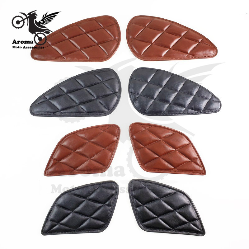 Leather Accessories Style Motorcycle Tank Sticker Retro Motorbike Tank Protection Vintage Decoration Cafe Racer Moto Tank Pad