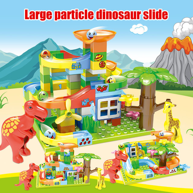74-227Pcs Jurassic Dinosaur Diy Maze Balls Building Blocks Duploed Marble Track Slide Big Size Bricks Toys for Kids