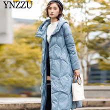 2019 Winter Hooded Women Down jacket Casual Loose Long sleeve Female Down clothing Thick Warm Coat Outwear YNZZU White 9O100 ynzzu 2019 winter hooded long sleeve women down coat loose oversize pocket short down overcoat warm female down jacket yo915