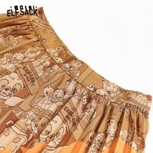 Image 4 - ELFSACK Fuchs Gedruckt Hohe Taille Gefaltete Röcke Frauen 2019 Winter Neue Mode EINE Linie Dünne Büro Damen Tägliche Lange Rock