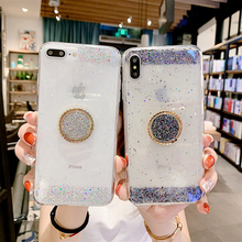 Luxury Shinning Clear Glitter Case For iphone 7 X 8 6 Plus XR XS MAX Cover Bling Soft Silicone TPU Phone Ring Stand Holder