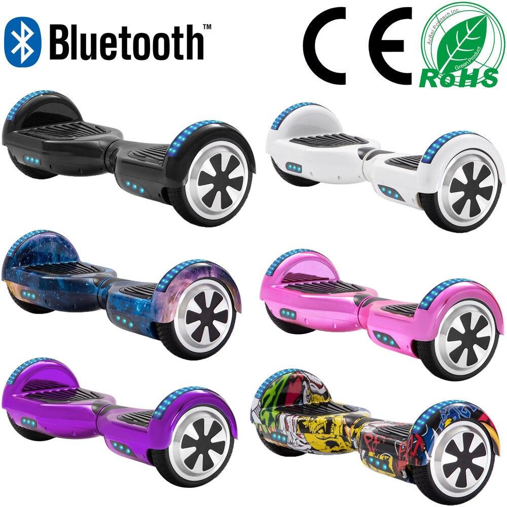 6.5 Polegada scooters auto-balanceamento barato led scooters elétricos duas rodas equilíbrio skate hoverboard bluetooth + chave remota + saco