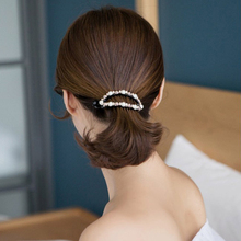 Korean hair ornaments pearl diamond oval hairpin pony tail clip Japanese and version of the big twist