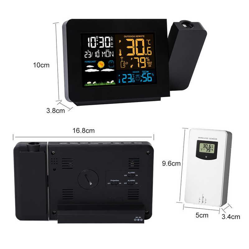 アラーム投影時計温度計湿度計ワイヤレスウェザーステーションデジタル時計スヌーズデスクテーブルプロジェクト電波時計