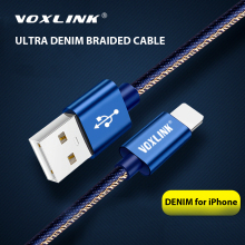 VOXLINK 2.4A Denim USB Cable for iphone X XS XR Fast Charging Sync Data Cord For iPad mini 2/mini 3/mini 4 8 charging cable
