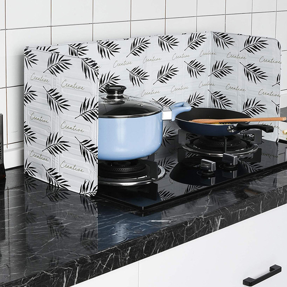 Faroot Aluminum Foil Oil Block Oil Barrier Stove Cook Cactus Printed Anti-Splashing Oil Baffle Heat Insulation Utensils