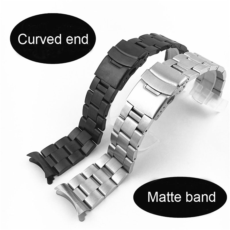 Solid Curved End 22mm 20mm Stainless Steel Watch Band Silver Black Matte Metal Strap Bracelet Women Men Watchbands with Pins image