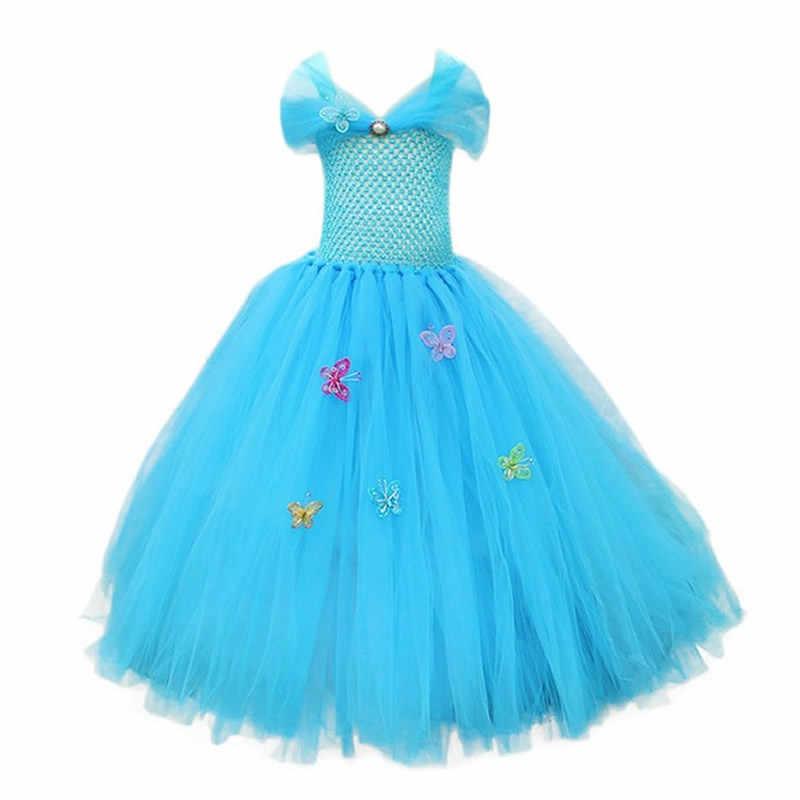 בנות סינדרלה שמלת פעוט כחול לנשף תלבושות ילדים נסיכת כדור שמלת לחיות פעולה סרט תלבושות חתונה מסיבת Midi תלבושות