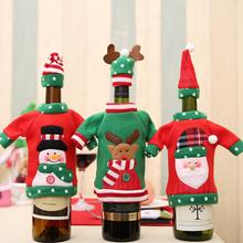 Christmas Decoration Wine Bottle Cover Cartoon Embroidery Christmas Bottle Cloth New Year Party Table Decorations цена в Москве и Питере
