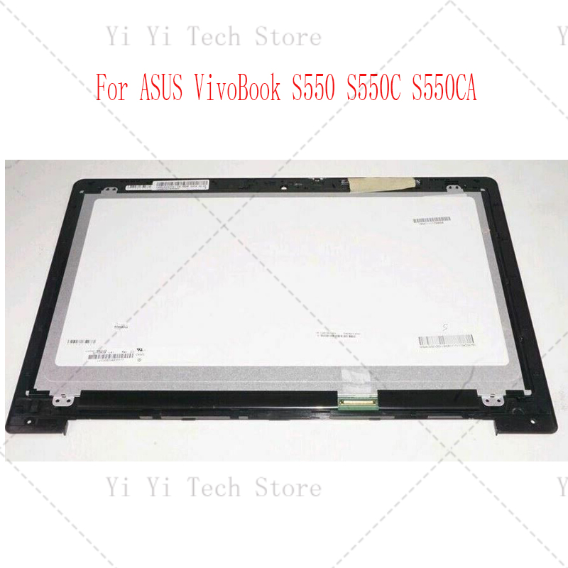 For ASUS VivoBook S550 S550C S550CA Series Touch Panel Glass Digitizer + LCD Screen Display Assembly + Frame HD 1366*768