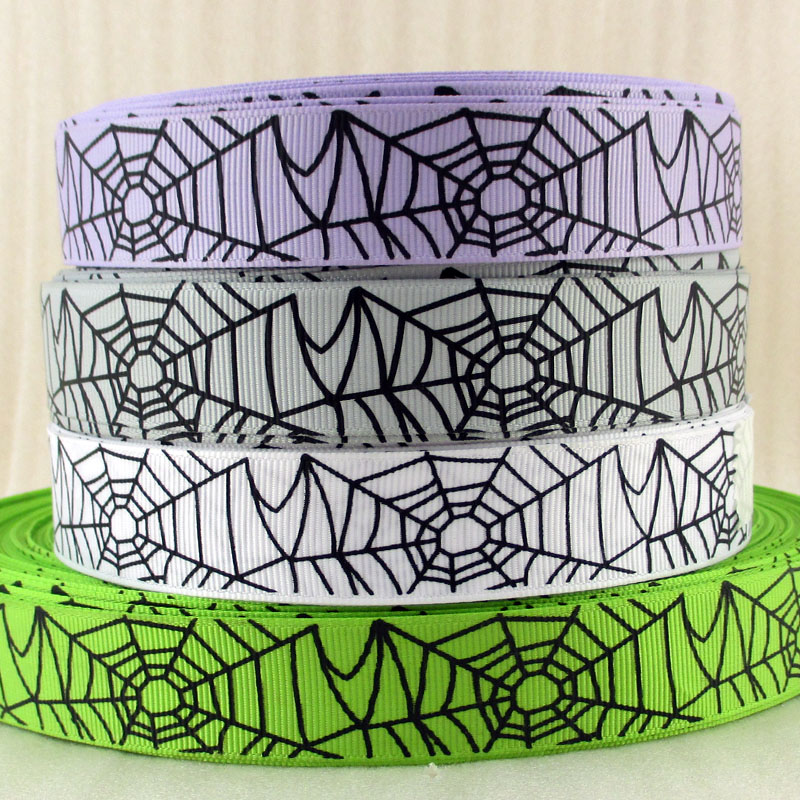 <font><b>7/8</b></font>''(22mm) <font><b>grosgrain</b></font> <font><b>ribbon</b></font> holiday <font><b>Halloween</b></font> Christmas snowflower patterns diy headwear gift sewing supplies,50Yc1375 image
