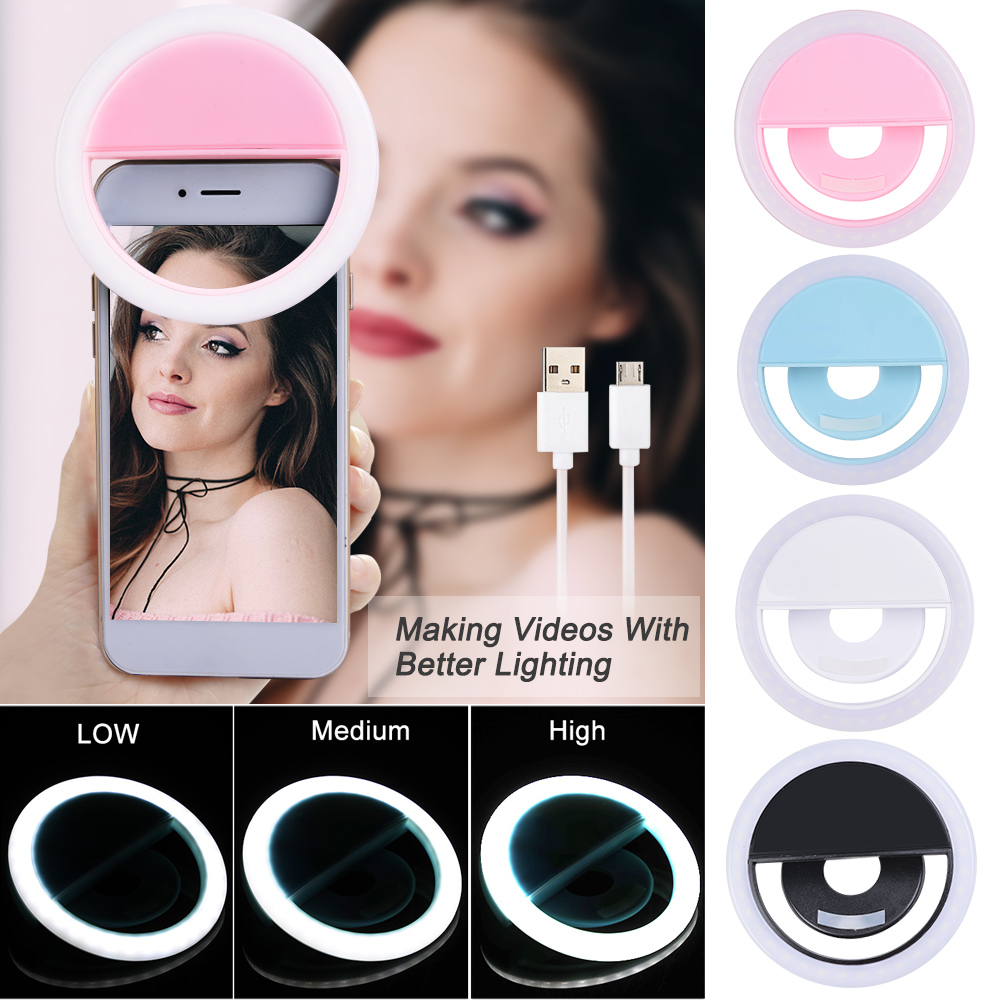 LED Portable USB Charge Selfie Ring Light 4 Colors For Phone Supplementary Lighting Night Darkness Selfie Enhancing Fill Lights