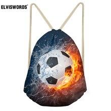 ELVISWORDS Hot Children Beach Drawstring Bags 3D Water Fire Football Kid's School Gift Bag for Boy Teen Sport Gym Sack