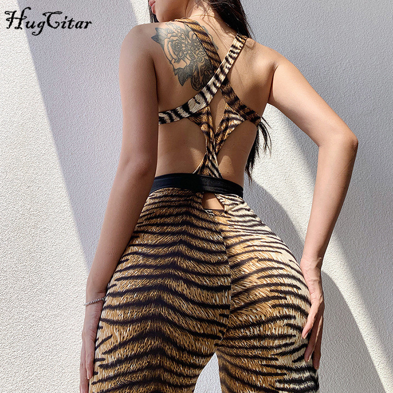 Hugcitar 2019 Tiger Print Hollow Out Backless Bandage Bodycon Sexy Jumpsuit Autumn Winter Women Streetwear Sporty Outfits Body