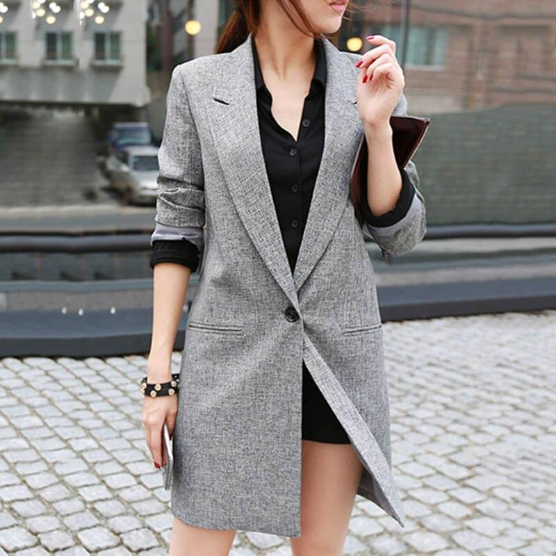 Women Ladies Suit Coat Long Sleeve Solid Color Open Front Blazer For Office Home EIG88