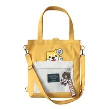 Canvas Shoulder Bag Japanese and south Korean style Leisure Cute Cartoon female 100% Cotton Handbag for Women Black