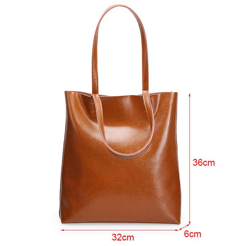 Inek deri çanta bayan hakiki deri çantalar büyük kadın çantaları büyük Vintage kadın yeni 2020 ofis omuz çantaları için kadın büyük el çantası