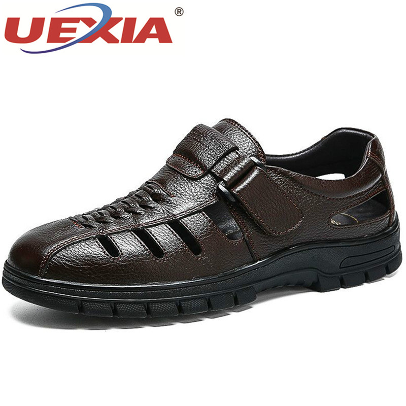 UEXIA 2019 Leather Sandals For Men Summer Dress Formal Roman Comfortable Anti-slip Hollow Sandals For Dad's Man Shoes Footwear