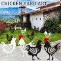 4 # креативный металлический декор куриный двор силуэт курицы садовый декор железная куриная статуя художественный дисплей уличные украшен...