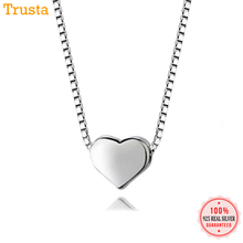 Trustdavis 100% 925 Sterling Silver Cute Heart Pendant Short 40cm Necklace For Women Jewelry Gift DS441