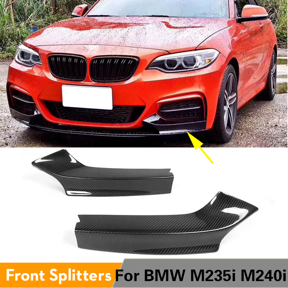 Carbon Fiber Front Bumper Lip Side Splitters Flaps Cupwings for BMW M235i M240i F22 M Sport Coupe Convertible 2014 - 2017 image