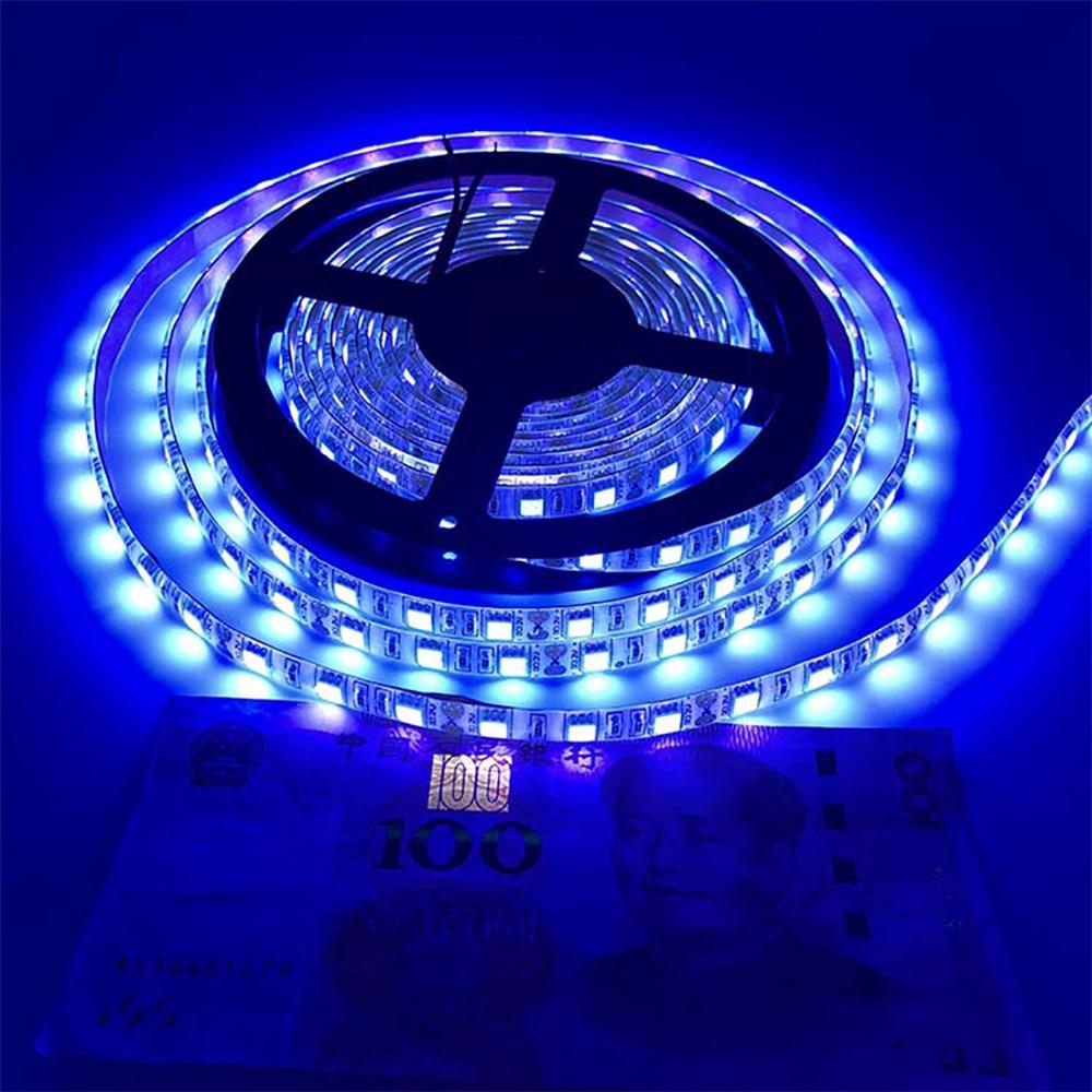Uv Led Strip Light 395-405nm Ultraviolet Tape Banknote Verification Aquarium Disinfection Fluorescent Lamp Nail Diode 2835 12V